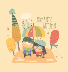 couple in love walking under umbrella in autumn vector image