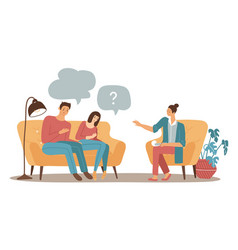 couple psychotherapy concept female family vector image