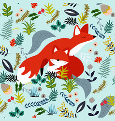 Cute baby fox and mom in flower seamless pattern vector