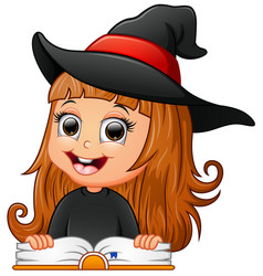 Cute girl witch reading book vector