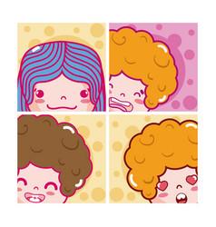 cute kids emojis vector image