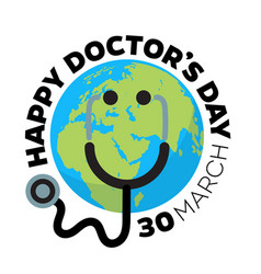 doctors day greeting card design with stethoscope vector image