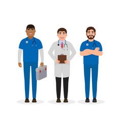 doctors dressed in medical uniform three happy vector image