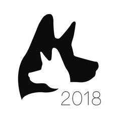 dog logo black color silhouette pet paw vector image