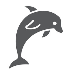 Dolphin glyph icon animal and underwater vector