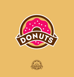 donuts logo bakery cafe emblem vector image