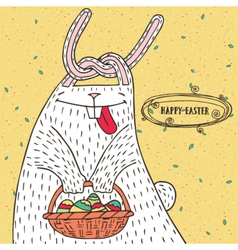 Easter bunny with easter basket and easter eggs vector