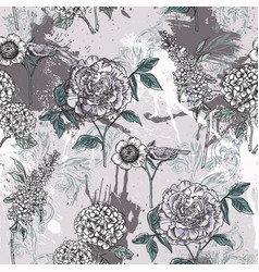 Eclectic floral seamless pattern with spray paint vector