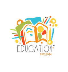 Education label design concept with educational vector