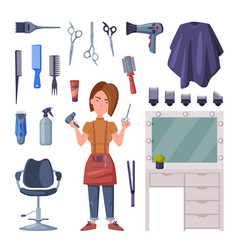 Female hairdresser with professional tools and vector