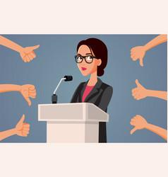 Female spokesperson receiving mixed reaction vector