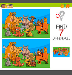 find differences game with dogs and cats vector image