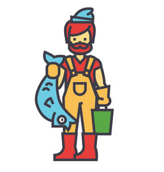 fisherman with fish concept line icon vector image