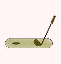 flat shading style icon golf stick and hole vector image