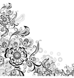 Floral abstract pattern in gray vector