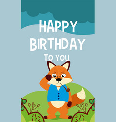 fox cute animal birthday card vector image