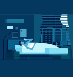 Gadget addiction man at night with smartphone vector