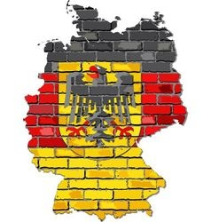 Germany map with emblem on a brick wall vector