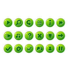 Glossy green buttons for all kinds of casual vector