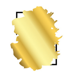 gold brush in black rectangle frame isolated white vector image