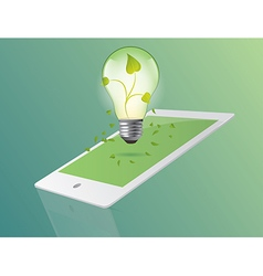 Green ecology bulb with tablet concept Environment vector