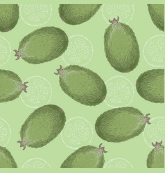 Green seamless pattern with feijoa vector