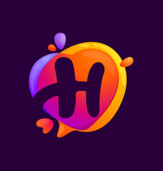 H letter at colorful speech bubble and heart vector