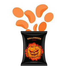 Halloween chips with pumpkin flavor snacks for vector
