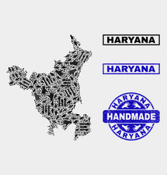Handmade composition haryana state map and vector