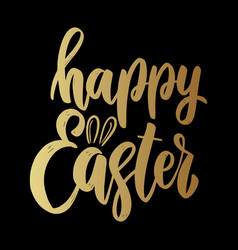 happy easter lettering phrase on dark background vector image