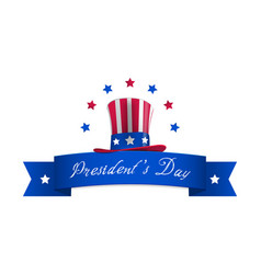 happy presidents day with stars and ribbon vector image