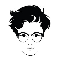 head a beautiful girl with glasses face of vector image