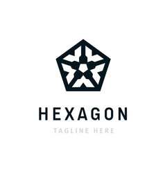 hexagon corporate logo design business company vector image