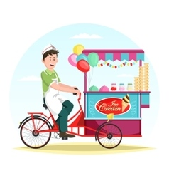 Ice cream wagon or trolley with vendor man vector