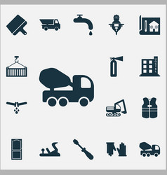 industrial icons set with vest fire extinguisher vector image