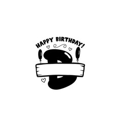 Initial birthday b letter happy birthday monogram vector