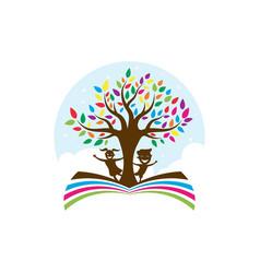 kids tree logo icon design vector image
