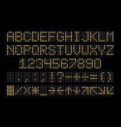 Led display font dot light english alphabet vector