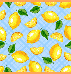 Lemon fruit seamless pattern yellow lemons on a vector