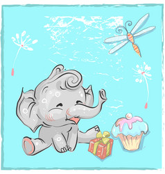 Little lovely elephant birthday with dragonfly and vector