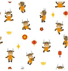 little smiling bulls dancing and having fun vector image