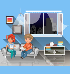 Man and woman sitting on the couch with book vector