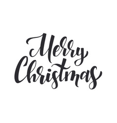 merry christmas black ink brush lettering vector image