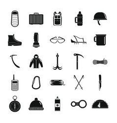 mountaineering equipment icons set simple style vector image
