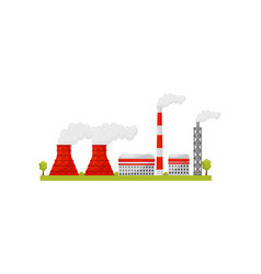 Nuclear power plant with industrial buildings and vector