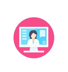 Online medical consultation diagnosis icon vector