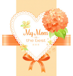 Orange hydrangea cherry blossom flowers poster vector