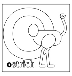 Ostrich letter O coloring page vector image