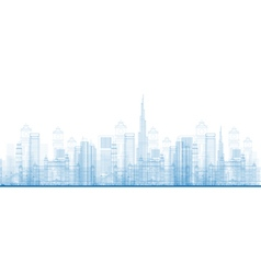 Outline Dubai City Skyscrapers vector image