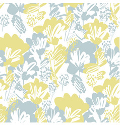 Pale green and gray flowers seamless pattern vector